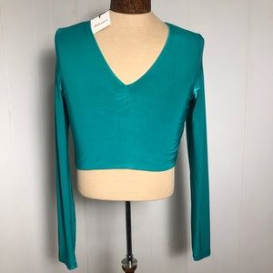 Womens Spandex Teal Top. NEW. Size large